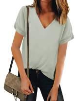 Lynwitkui Women V Neck Chiffon Blouse Short Sleeve Summer Casual Loose Shirt Tops