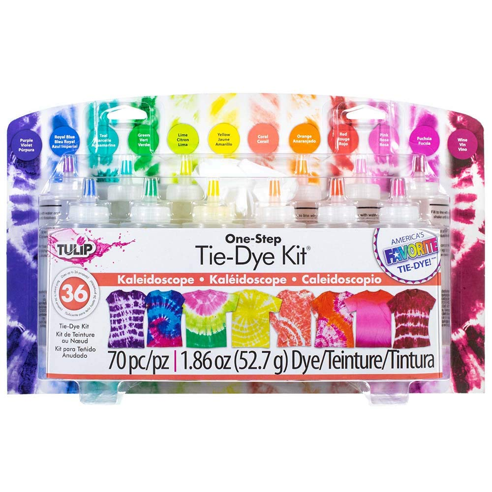 70 Piece Kaleidoscope Tie-Dye Kit – Includes 12 Colors, 40 Rubber Bands, 16 Protective Gloves, 1 Reusable Surface Cover, and 1 Project Ideas Guide – Creates Up to 36 Projects