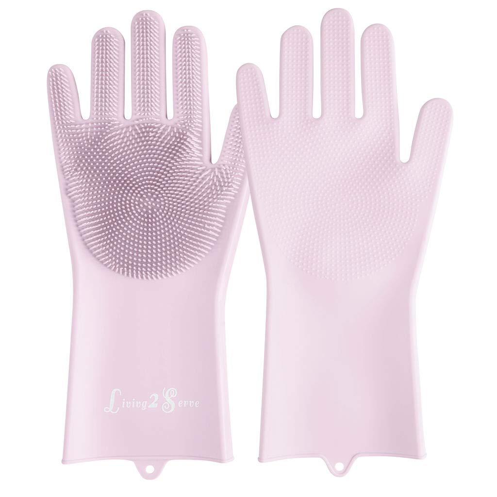 Dishwashing Gloves - Magic Silicone Dishwashing Gloves with Scrubbers   Living2Serve Multipurpose Reusable Dish Wash Glove with Brush Bristles are Great for Kitchen, Bathroom, Pet Care - Pink