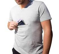 Men's V-Neck Traveling Best Pickpocket Proof Hidden Zipper Pocket T-Shirt