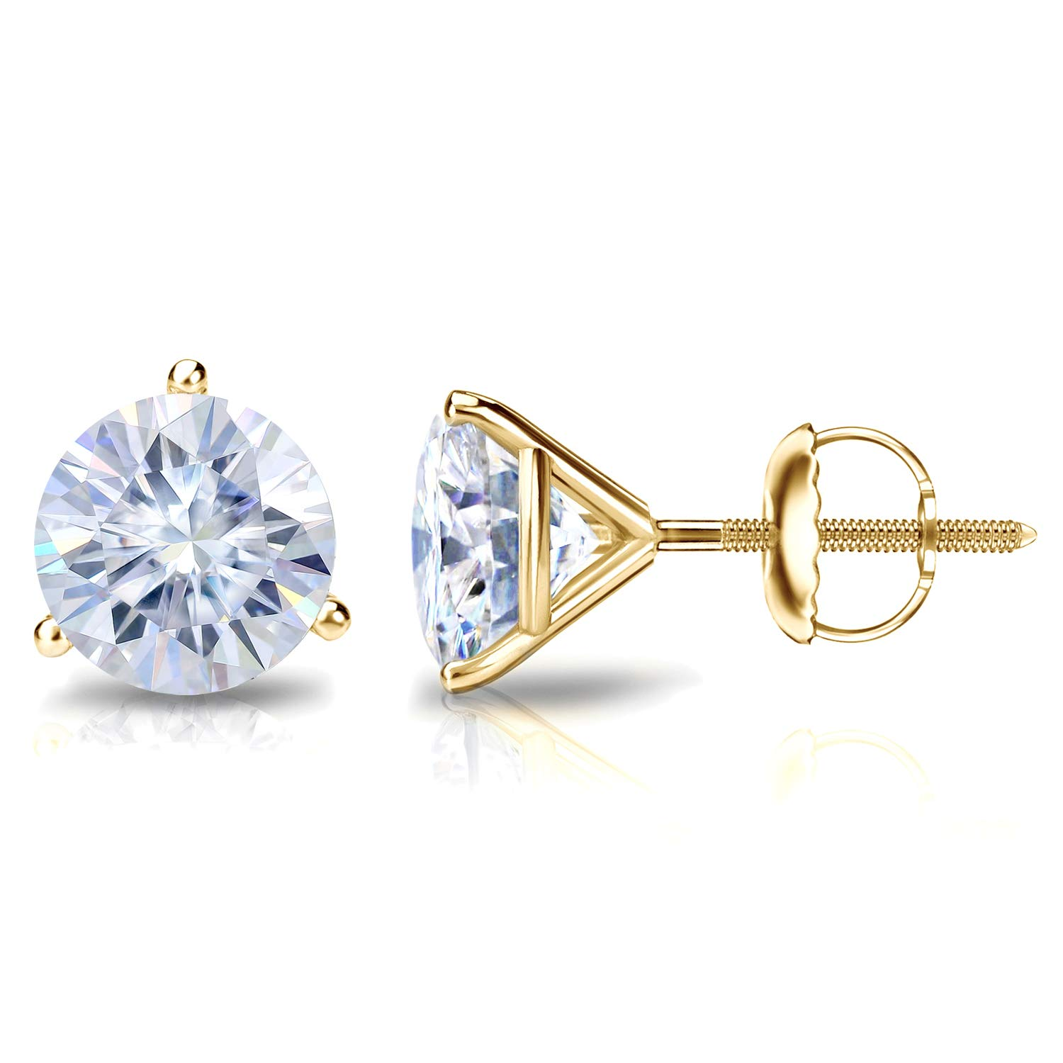 18k Gold Round Moissanite Stud Earrings (1 to 7ct TGW, G-H) 3-Prong Martini Set, Screw-Back by Diamond Wish