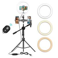 """10"""" Selfie Ring Light with 63"""" Tripod Stand, Bluetooth Remote, 3 Cell Phone Holders & Microphone Clip, LED Ringlight for TIK Tok/YouTube Video, Make-Up, Photography & Live Streaming"""