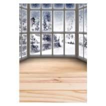 Baocicco 6.5x10ft Vinyl Backdrop Winter Indoor Scene Photography Background Balcony Wooden Floor Snowing Pine Trees Outside Windows Christmas New Year Party Children Adults Portrait Studio Prop