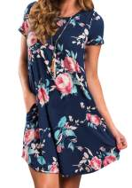 YMING Women's Casual Floral Print Mini Dresss Short Sleeve Mini Dress with Plus Size