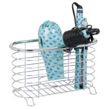 mDesign Metal Wire Hair Care & Styling Tool Organizer Holder Basket - Bathroom Vanity Countertop Storage Container for Hair Dryer, Flat Irons, Curling Wands, Hair Straighteners - Chrome