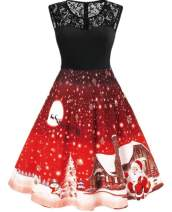 Nicetage Women's Vintage Christmas Santa Print Short Sleeve Lace Retro A-Line Party Swing Dress