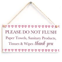 """Meijiafei Please DO NOT Flush Paper Towels, etc Thank You - Cute Love Hearts Septic Tank Thank You Sign for Septic Toilet 10""""x5"""""""