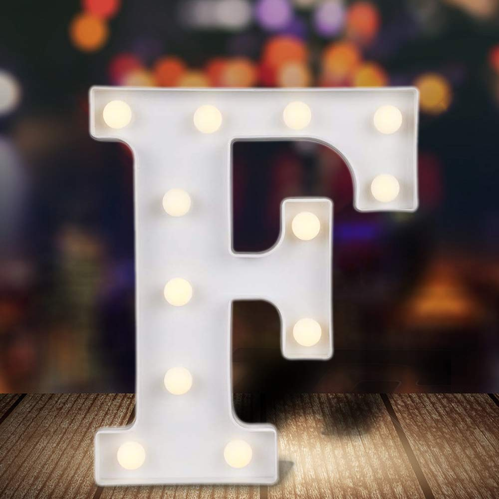 ODISTAR LED Light Up Marquee Letters, Battery Powered Sign Letter 26 Alphabet with Lights for Wedding Engagement Birthday Party Table Decoration bar Christmas Night Home,9'', White(F)