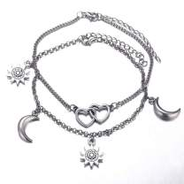 Unicra Boho Silver Layered Anklet Heart Foot Chain Beach Jewelry Anklets for Women and Girls