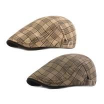 Idopy Colored Plaid Longshoreman`s Flat Cap Irish Ivy Driving Golf Newsboy Hat
