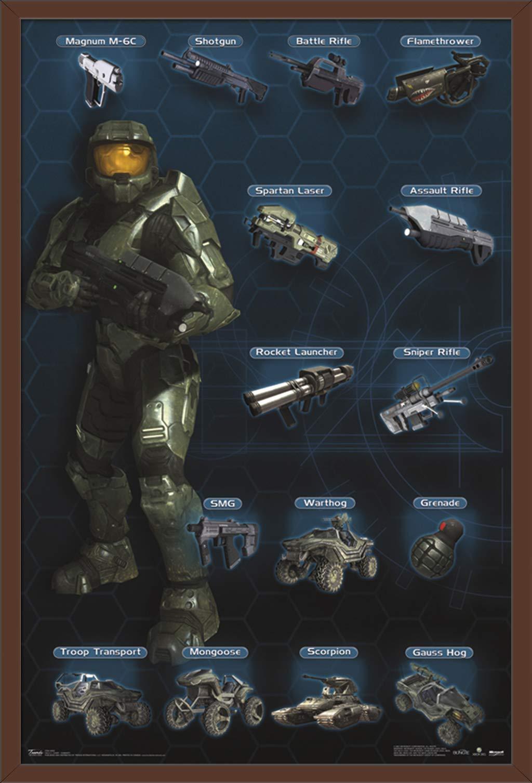 "Trends International Halo 3 - Chart - Humanity, 22.375"" x 34"", Mahogany Framed Version"