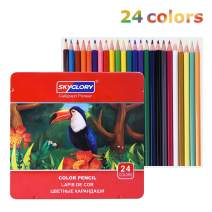 LOBKIN Colored Pencils,Professional Soft, Thick Core Pencils for a Smooth Color Vibrant Artist Pencils for Beginners & Pro Artists with Metal Box (Set of 24)
