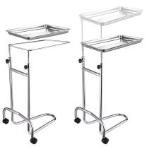 Metal Stand Adjustable Height with Swivel Casters Removable Stainless Steel Tray Surgical Procedures Medical Spa Salon Instrument Equipment