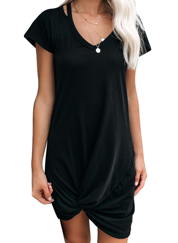 EVALESS Womens Tshirt Dresses V Neck Short Sleeve Side Knot Mini Dress