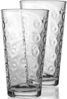 Circleware 40175 Cosmo Highball Tumbler Drinking Glasses, Set of 8, Kitchen Entertainment Heavy Ice Tea Beverage Cups Glassware for Water, Beer, Juice, Bar Liquor Farmhouse Decor, 15.7 oz, Clear