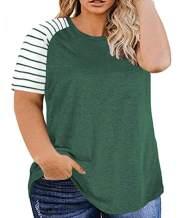 Ritera Womens Plus Size Tops Striped Leopard Raglan Tee Shirts Casual Tunics Blouses