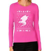 Big White Dragon Ugly Christmas Sweater Xmas Apparel Women Long Sleeve T-Shirt