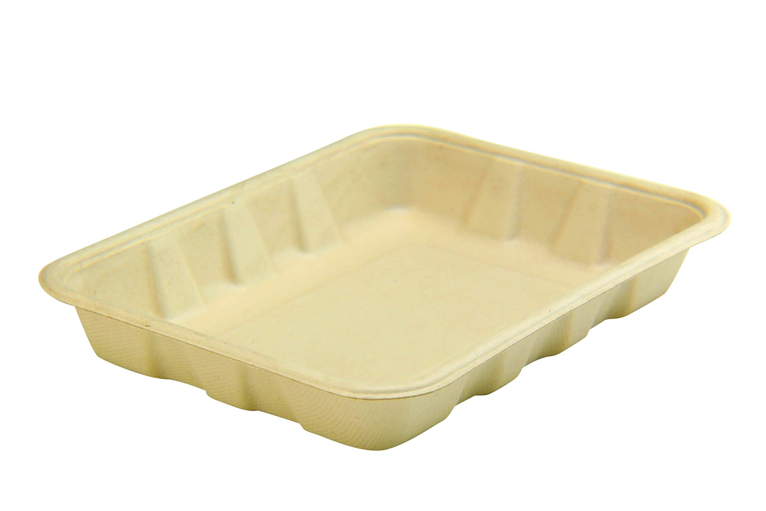 [100 COUNT] 22oz Compostable Eco Friendly Container Trays - Deep Containers made from Plant Fibers for Meal Prep Dinnerware Plates Catering Bento Boxes Takeout 100% by products