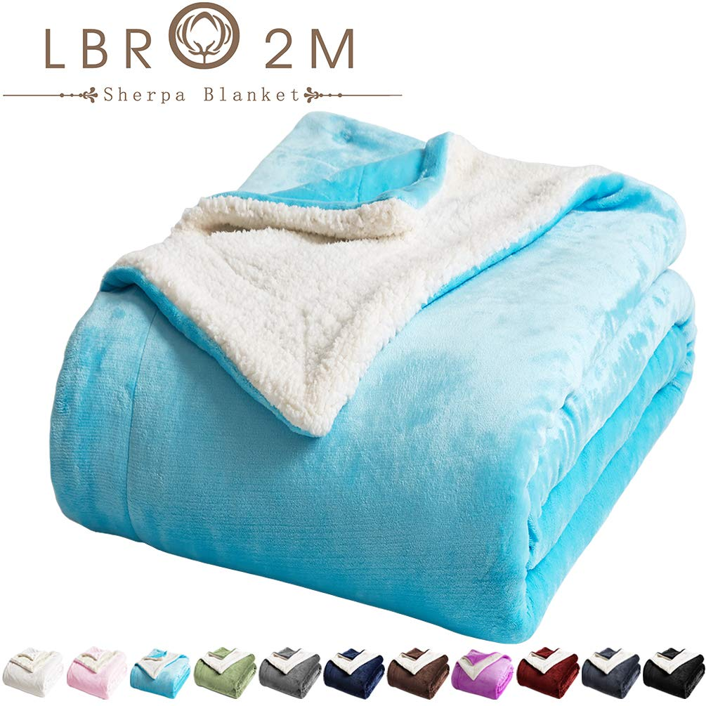 LBRO2M Sherpa Fleece Bed Blanket King Size Super Soft Fuzzy Plush Warm Cozy Fluffy Microfiber Couch Throw Velvet Double Reversible Luxurious Blankets (Teal, King(90x104 Inches))