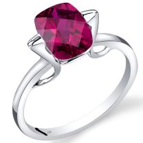 14K White Gold Created Ruby Minmalistic Solitaire Ring 2.75 Carats