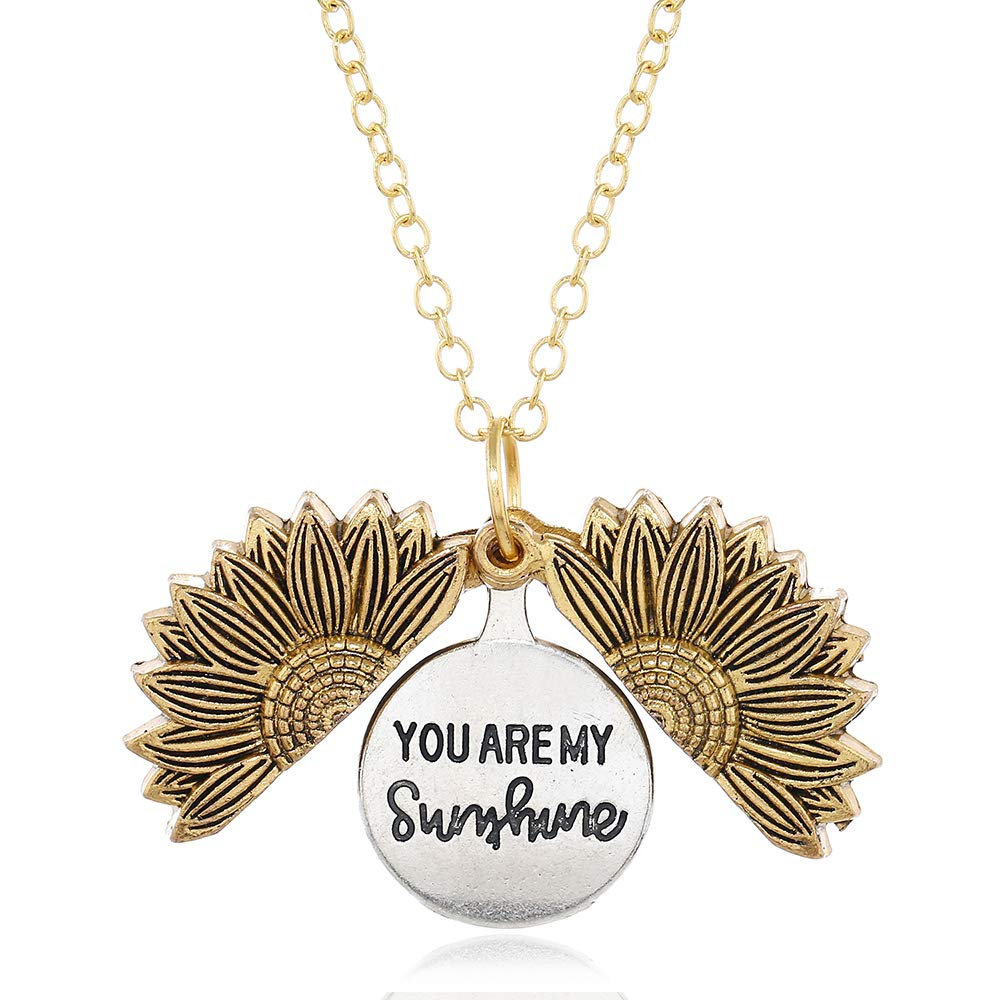 HZBRUJ You are My Sunshine Necklace Cute Engraved Sunflower Locket Necklace for Women Mom Daughter Girls Boys Girlfriend Valentine's Day Mother's Day