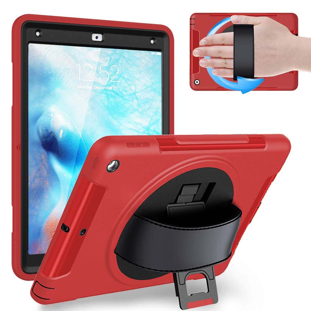 Weuiean iPad 6th/5th Generation 2018 2017 Case, Full-Body Shock/Drop Proof Case with 360 Rotating Hand Strap, Screen Protector, Stand, for iPad 6th/5th 9.7 (A1893 A1954 A1822 A1823) - Red