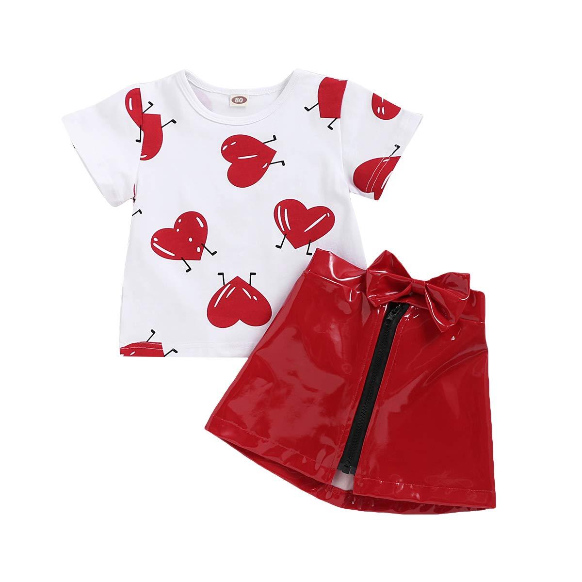Toddler Baby Girls Leather Tutu Skirt Set Heart T-Shirt Top, Red Zipper Short Dress 2pc Clothes Set