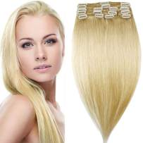 """16"""" 80g Clip in 100% Real Remy Human Hair Extensions Full Head Highlight (16 inch 80gram/2.85Oz #613 Bleach Blonde) 8 pcs Set Long Straight Natural Grade 10A Hair Pieces for Women"""