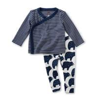 Tea Collection Wrap Top Baby Outfit, Indigo, Navy/White Stripe Top with White/Navy Bears Pants