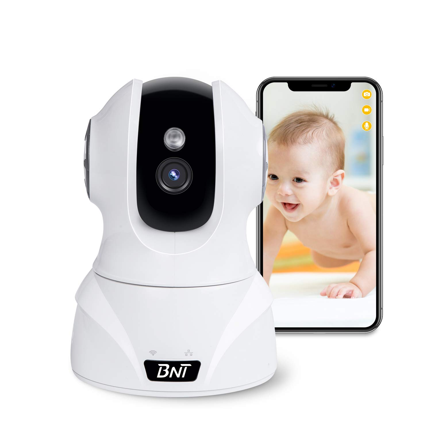 Security Camera WiFi IP Camera, BNT HD 1080P Home Wireless Baby/Pet Camera with Cloud Storage Two-Way Audio Motion Detection Night Vision Remote Monitoring, Work With Alexa
