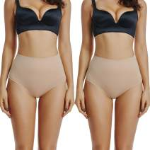 WOWENY Mid Waist Body Thong Shaper for Women Tummy Control Thong Shapewear Panties Pack of 2