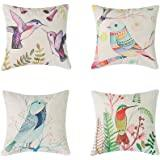 Heyhousenny Decorative Throw Pillow Covers Floral Cushion Covers Square Outdoor Pillowcase For Sofa Home Set of 4