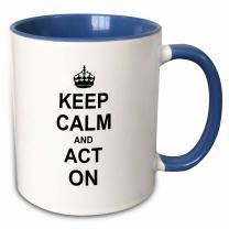 3dRose 157632_6 Keep Calm and Act on Mug, 11 oz, Blue