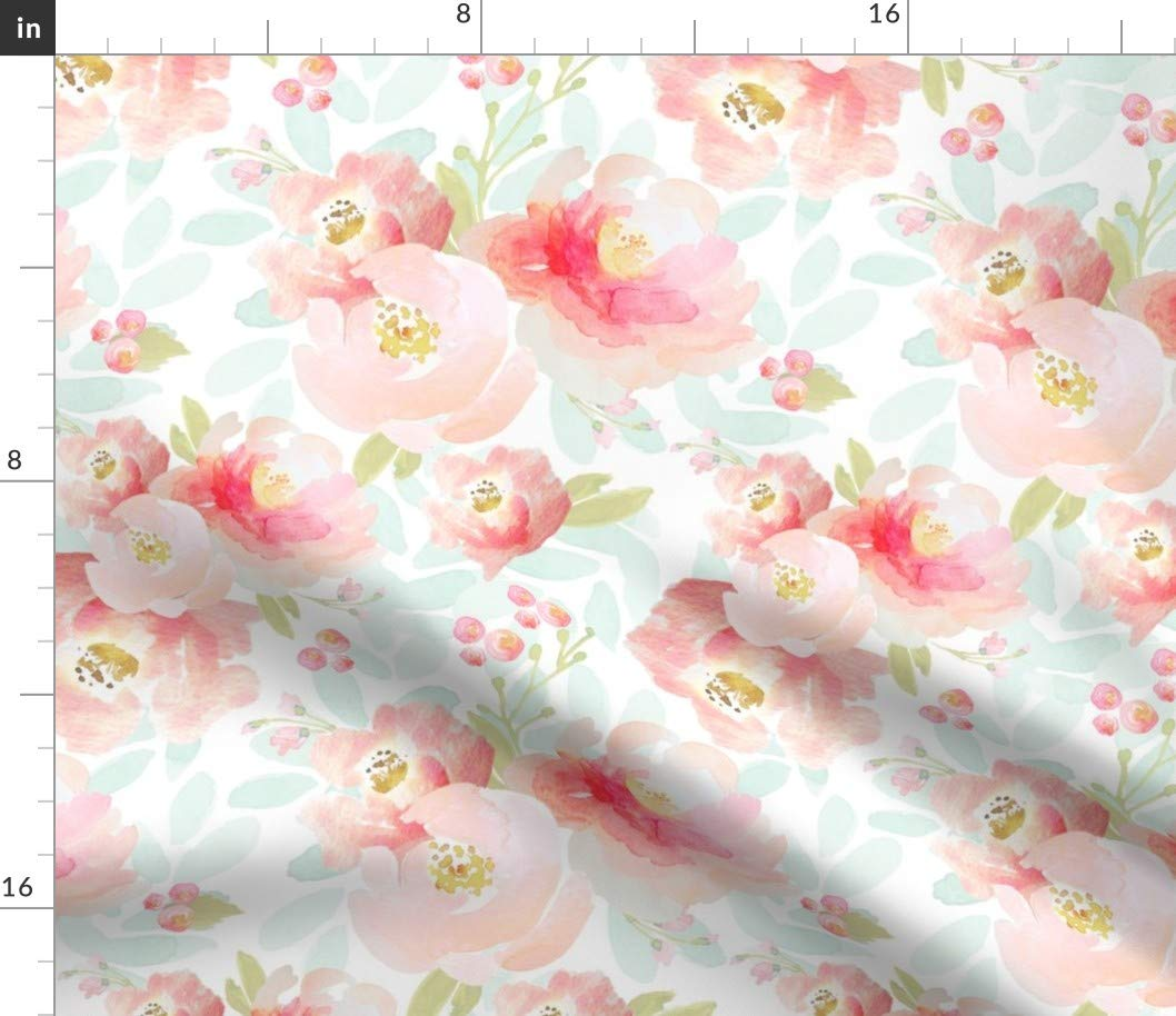 Spoonflower Fabric - Floral, Plush, Pink, Blue, Blush, Florals,Baby Girl, Nursery Printed on Petal Signature Cotton Fabric by The Yard - Sewing Quilting Apparel Crafts Decor