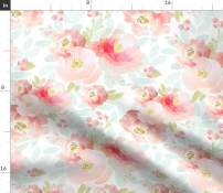 Spoonflower Fabric - Floral, Plush, Pink, Blue, Blush, Florals,Baby Girl, Nursery Printed on Minky Fabric by The Yard - Sewing Baby Blankets Quilt Backing Plush Toys