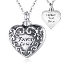 """EUDORA Personalized Sterling Silver Cremation Jewelry for Ashes,""""Forever Loved"""" Heart Shape Urns Necklace for Human, Dog, Cat, Pet Ashes, 20"""" Chain"""