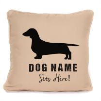 Personalised ' Dachshund Sits Here' Print Throw Pillow Cushion with Pad   Best Present Ideas for Dog Lover Or Any Dachshund Sausage Dog Owner for Christmas, Birthdays  18 x18 inch  