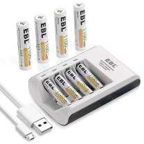 EBL Pack of 8 AAA Batteries 1,100mAh AAA Rechargeable Battery with Smart C807 Battery Charger and Micro Charging USB Cable