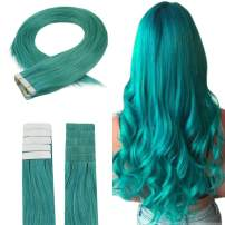 Easyouth Tape in Real Human Hair 24inches Color #Teal 50g 20pieces per Package Brazilian Human Hair Extensions, Real Extensions Human Hair Tape on Extensions Easy to Use for Beauty Supply