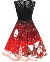 Bemawe Womens Vintage Sleeveless Lace Santa Claus Snowflake Reindeer Christmas Party Swing Dresses