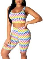 Women 2 Piece Outfits Shorts Tracksuit - Snakeskin Print T-Shirts Crop Tops Bodycon Short Pants Jumpsuits Romper Suits Set