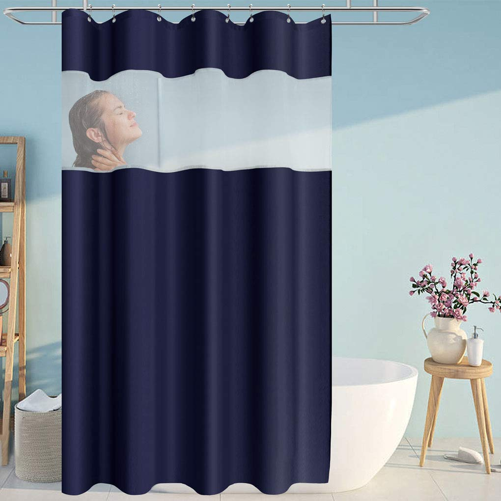 Eforcurtain Navy Blue White Organza Décor Microfiber Bathroom Curtain Durable for Home, Waterproof Shower Curtain Machine Washable, Stall Extra Long 54 by 78 Inches