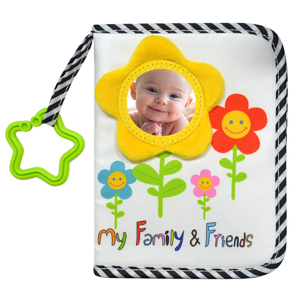 ABCKEY My Family and Friends Baby Photo Album with Sunflower Baby-Safe Mirror Holds 18 Photos