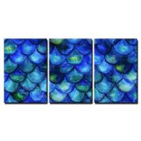 """wall26 - 3 Piece Canvas Wall Art - Seamless Background with Hand Drawn with Watercolor Fish Scales. Mermaid Tale - Modern Home Decor Stretched and Framed Ready to Hang - 16""""x24""""x3 Panels"""