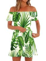 Klousilover Womens Hawaiian Dresses Off Shoulder Summer Floral Short Sleeve Strapless Beach Mini Dress