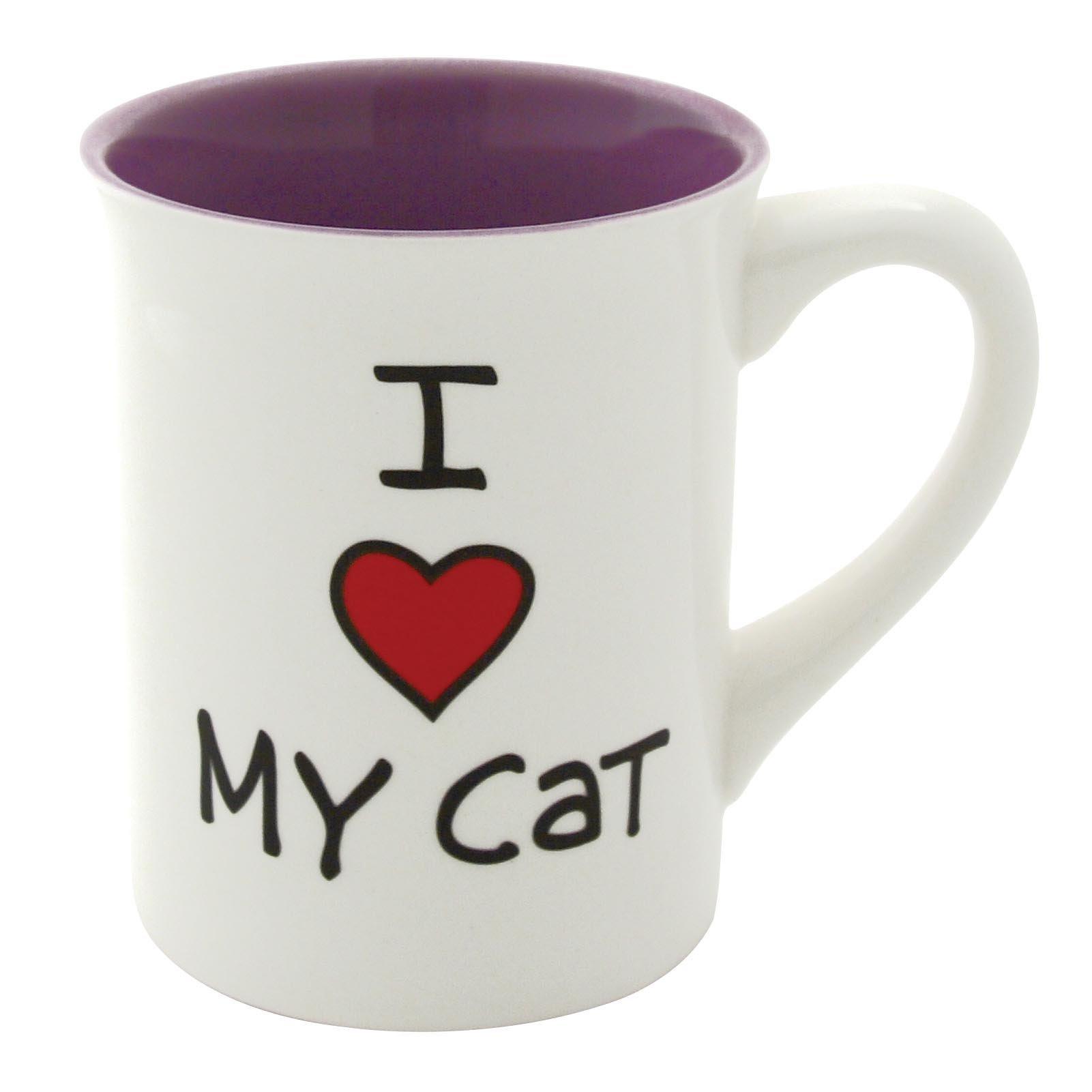 "Our Name is Mud ""I Heart My Cat"" Stoneware Mug, 16 oz."