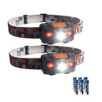 2-Pack LED Headlamp Flashlight with White and Red lights, 4 Light Modes Waterproof Lightweight Headlight for Running Jogging Fishing Camping Powered by 3AAA Battery