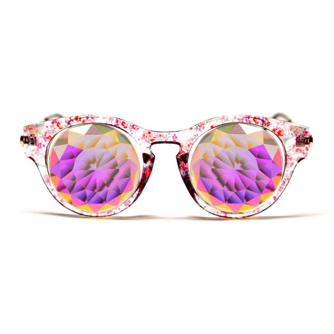 GloFX Floral Cat Eye Kaleidoscope Glasses – Rainbow Fractal Prism 3D Glass Crystal