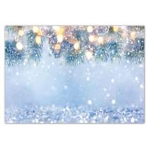 Funnytree 7x5ft Winter Glitter Bokeh Halos Backdrop for Photography Wonderland Snowflake Pine Leaves Christmas Sparkle Background Snow Baby Shower Birthday Party Decorations Photo Booth Studio Banner