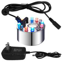 PULACO Mini Mist Maker, 12 LED Mister Fogger Water Fountain Pond Fog Machine Atomizer Air Humidifier, Indoor Fountain Mister Foggers